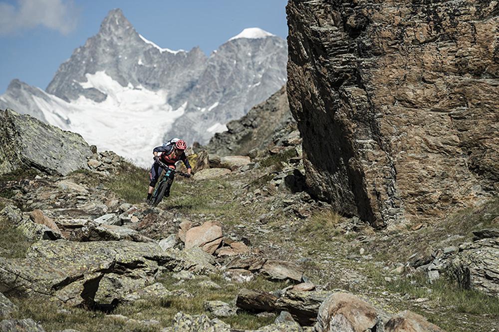 Julia Hofmann riding in Zermatt, Switzerland.